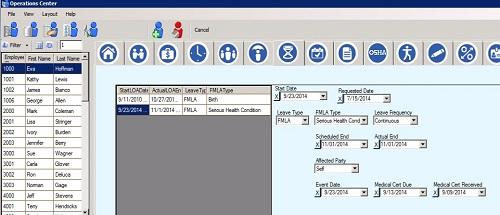Sierra Workforce Solutions Human Resources Module FMLA Page