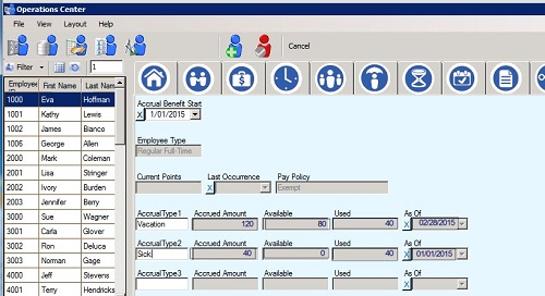Sierra Workforce Solution accruals tracking, points tracking, human resources software
