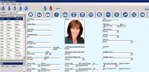 Sierra's Human Resources Module Employee Demographic Info Screen