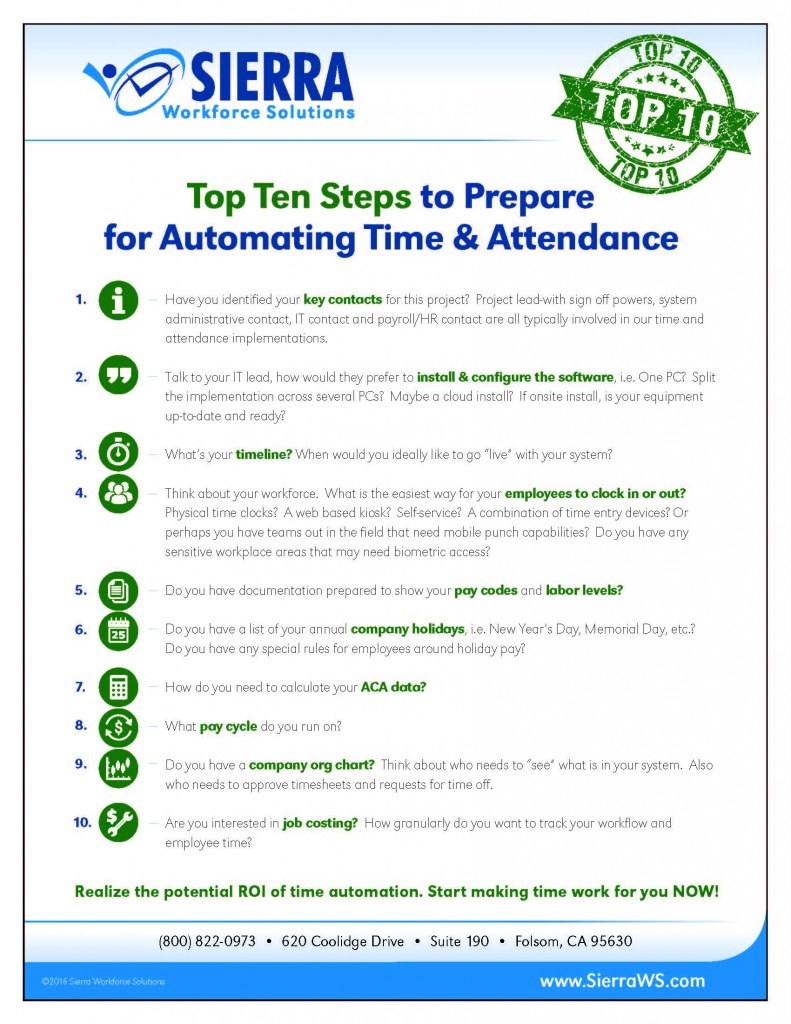 Ten Steps to Prepare for Time and Attendance Automating