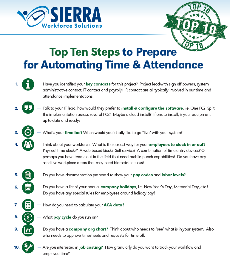 Easy Steps to Time & Attendance Success - Sierra